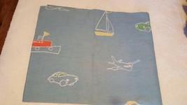 "Laura Ashley Boy's Curtain Valance, Chalk Transportation Drawings, 18X85"" Unused - $4.94"