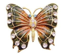 Bright Glimmering Two Shaded Butterfly Sparekling Diamond Studs Brooch - $10.13