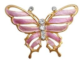 Vintage Sleek & Dainty Pink Gold Enamel Butterfly Brooch Pin - $9.48