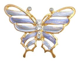 Gold Sleek & Dainty Blue Enamel Butterfly Artistic Cubic Zircon Work - $9.48