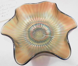"Vintage Northwood Carnival Glass Bowl Stippled Rays 5"" Bonbon - $29.99"