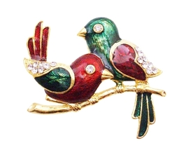 Wedding Anniversay Cake Brooch Valentine Twin Sweet Bird Brooch Gift - $8.83