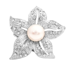 Brilliant Prong Set Clear Round Rhinestone Embedded Five Petals Brooch - $10.78