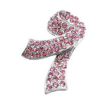 Pink Crystals Brooch For Breast Cancer Charitable Jewelry Silver Clasp - $12.08