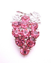 Pink Rose Crystal Silver Casting Leaves Crystals Prom Brooch - $10.13