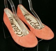 Sam Edelman Noah orange suede round toe slip on logo ballet wedge flats 7.5M  - $33.30