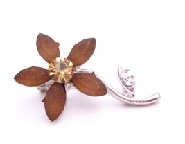 Smoked Topaz Flower with Silver Stem Brooch Pin Vintage Jewel - $8.18