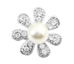 Sparkling Fully Encrusted Cubic Zircon 7 Petals Flower Brooch Pin - $8.18