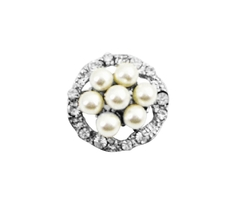 Round Pearl Vintage Brooch Surrounded Simulated Diamond Silver Plated - $8.18