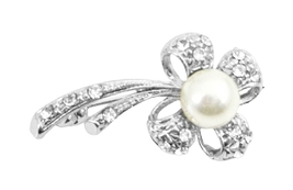 Flower Pearl Brooch Stem Fully Encrusted with Cubic Zircon Brooch - $8.83
