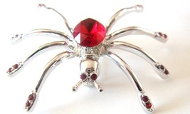Siam Red Crystals Brooch Spider Brooch Halloween Jewelry Striking Pin - $10.13