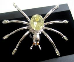 Stunning Silver Plated Lemon Crystals Spider Brooch Pin Gift - $10.13