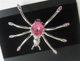 Beautiful Silver Plated Pink Crystals Spider Brooch Pin Gift - $10.13