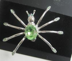 Silver Plated Peridot Crystals Stunning Spider Dress Brooch - $10.13
