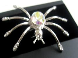 AB Crystals Spider Stunning Silver Plated Gorgeous Brooch Pin - $11.43