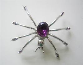 Stunning Austrian Amethyst Crystals Spider Brooch Pin - $11.43