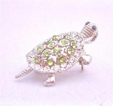 Peridot Crystal Turtle Tag Silver Casting Unique Brooch & Pendant - $10.13