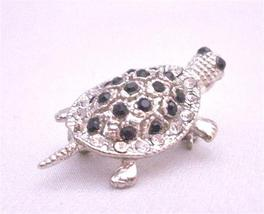 Inexpensive Silver Casting Turtle Brooch Pin & Pendant in Jet Crystal - $10.13