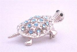 Aquamarine Crystals Turtle Silver Casting Inexpensive Brooch & Pendant - $10.13