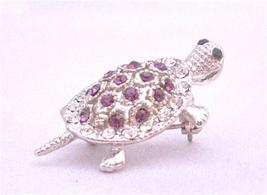 Inexpensive Turtle Brooch Pin & Pendant in Sparkling Amethyst Crystals - $10.13