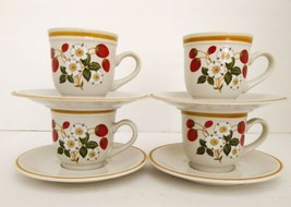 Vintage SHEFFIELD Strawberries 'n Cream Stoneware Japan 4 Cups/Mugs with Saucers - $41.58