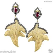 14k Gold Gemstone Carved GRAPE LEAVES Dangle Earrings Studded Diamond 925 Silver - $850.41