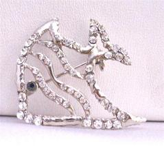 Silver Fish Brooch Fully Decorated with Cubic Zircon & Black Eye - $14.68