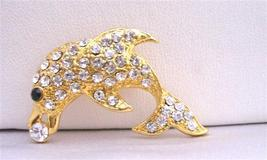 Gold Dolphin Vintage Artistically Decorated with Cubic Zircon Brooch - $11.43