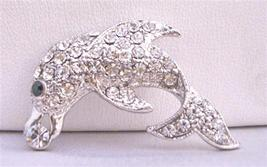 Silver Dolphin Brooch Artistically Decorated with Cubic Zircon - $11.43