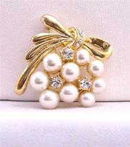 Stylish Trendy Pearls & Cubic Zircon Affordable Gold Brooch - $10.13