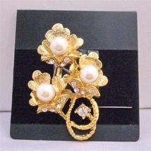 Gold Flower Bouquet Decorated Pearls & Cubic Zircon Brooch - $10.13
