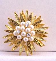 Vintage Pearls & CZ in The Center Surrounded Gold Leaf Brooch - $10.13