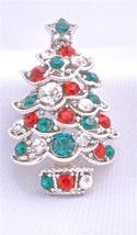 Christmas Tree Sparkling Green Red Cubic Zircon Brooch Pin - $9.50