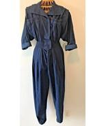Vintage 1980s Karen Alexander Navy Blue Jumpsuit size 10 Pleated Tapered... - $64.95