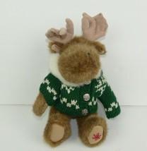 Boyds Bears Small Moose Plush w/ Green Hooded Sweater Stuffed Animal Toy... - $18.66