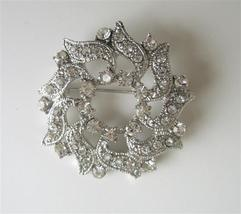 Pretty Jewel Cubic Zircon Simulated Diamond Round Sparkling Brooch Pin - $9.48
