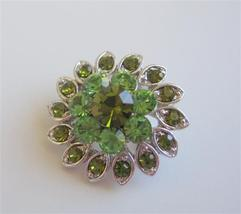 Silver Casting Flower Peridot & Olivine Rhinestones Brooch Pin - $9.48