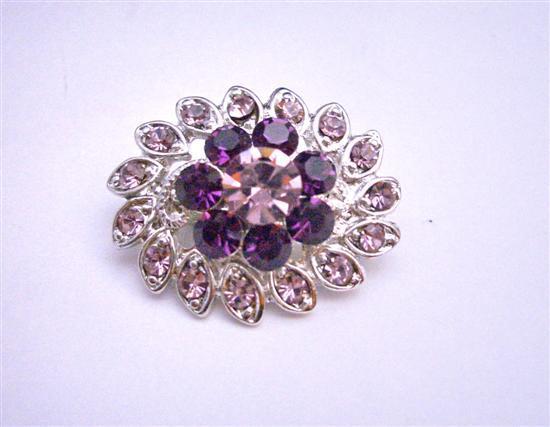 Simulated Light & Dark Amethyst Crystal Flower Dress Brooch Pin