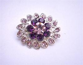 Simulated Light & Dark Amethyst Crystal Flower Dress Brooch Pin - $9.48