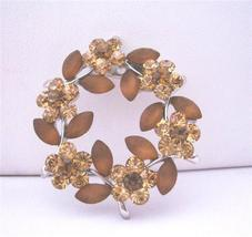 Topaz Brown with Brown Enamel Flower Crystals Brooch Pin - $10.13