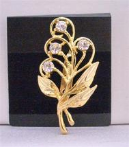 Beautiful Gold Bouquet Brooch with Golden Leaf & Cubic Zircon - $10.78