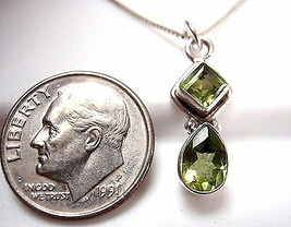 Very Small Faceted Peridot Pendant 925 Sterling Silver Teardrop & Square New - $17.81