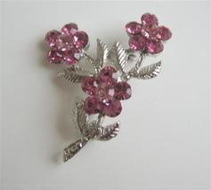 Pink Crystals Flower w/ Silver Plated Stem & Leaf Brooch Pin - $8.83