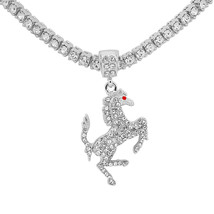 """14K White Gold Plated Bronco Horse Pendant 20"""" Tennis Chain & 24"""" Rope C... - $44.99"""