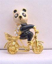 Vintage Gold Plated Panda On Bike Brooch Jewelry - $9.48