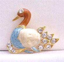 Gold Plated Colorful Duckling Decorated with Cubic Zircon Brooch - $8.18