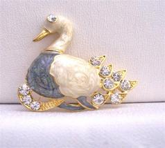 Gold Plated Colorful Duckling Decorated Cubic Zircon Duck Brooch Pin - $8.18