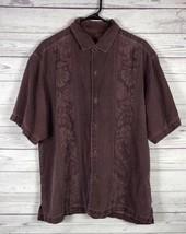 Tommy Bahama Mens Hawaiian Silk Shirt Sz Large Short Sleeve Floral Purple - $19.79
