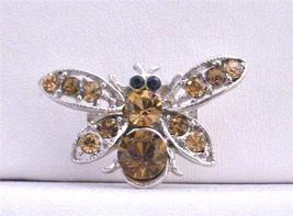 Dainty Gift Smoked Topaz Brown Classy Bumble Bee Brooch - $12.08