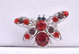 Sleek Garnet Red Rhinestones Elegant Bumble Bee Brooch Pin - $12.08